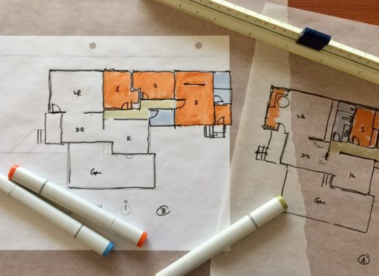 Floorplan sketches on trace paper
